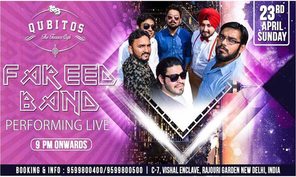 Fareed band performing live music events in newdelhi delhi for Qubitos the terrace cafe